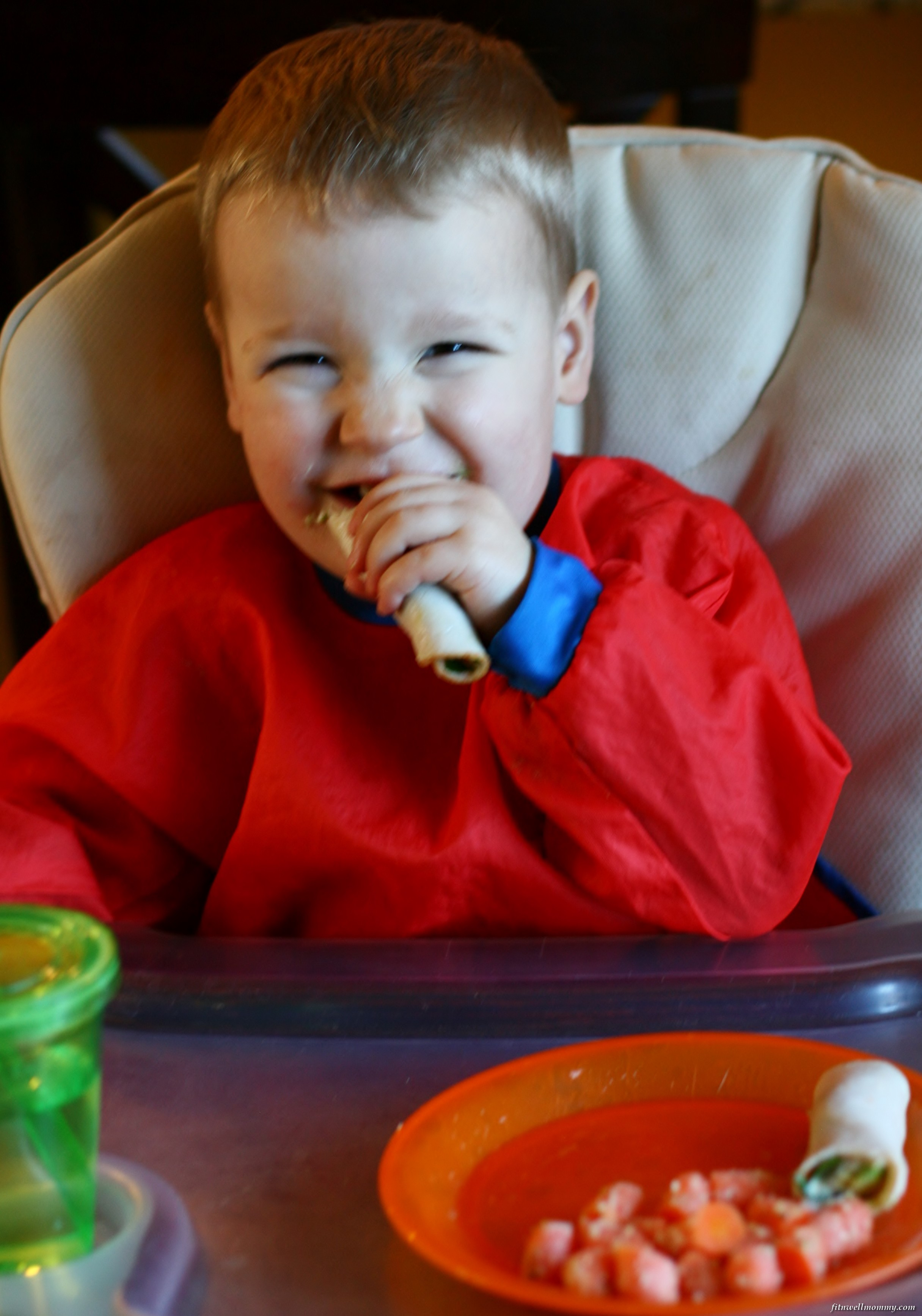 Enjoying his Paleo lunch of turkey rolls today!