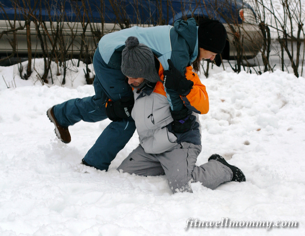 Wrestling in the snow with my brother!