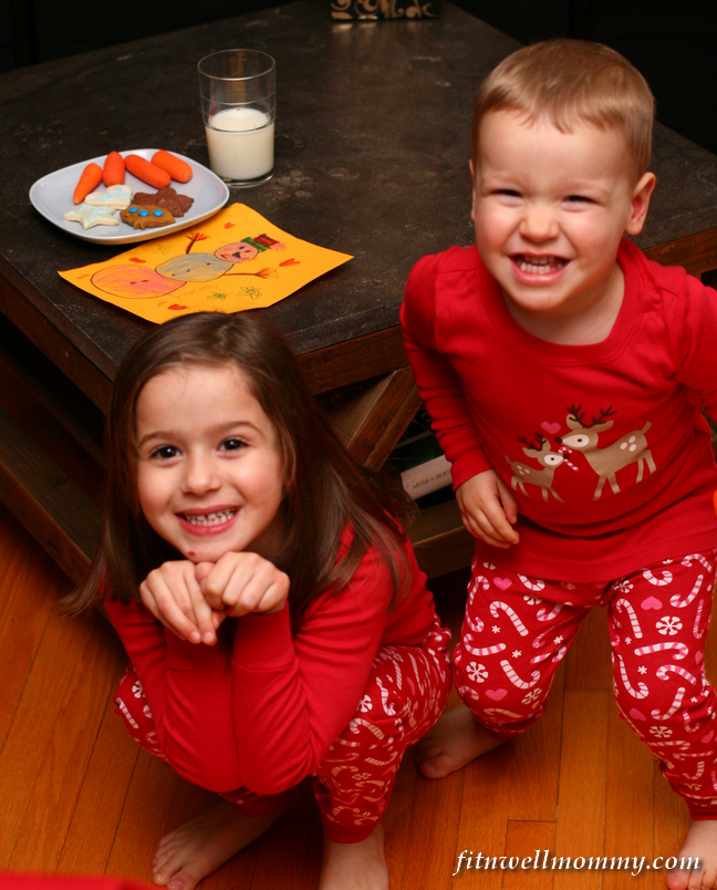 Quick picture with their matching PJ's after leaving Santa a cookie, carrots and a glass of milk!