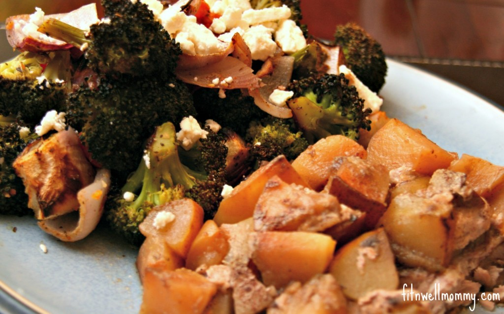 Crock Pot Pork and Apples with Roasted Broccoli, Tomatoes, Onions and Feta Cheese