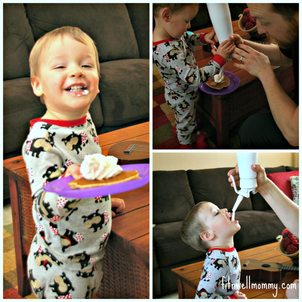A few shenanigans on Saturday morning after my husband made another batch of his famous whipped cream!
