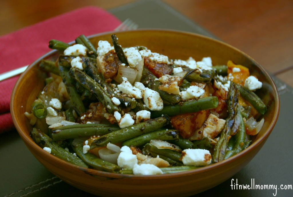 Grilled Green Bean and Peach Salad with Feta Cheese