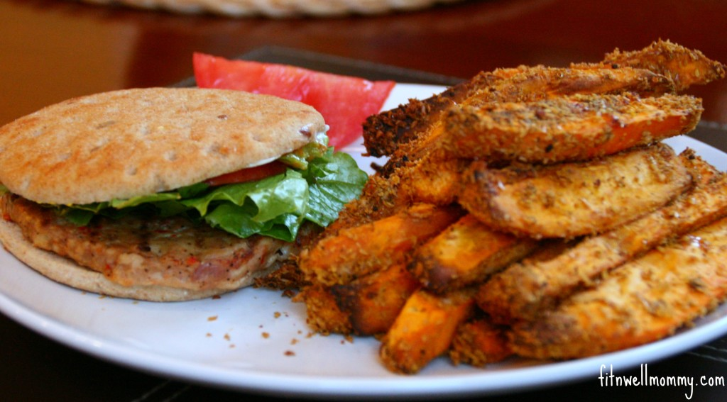 Chicken burgers with sweet potato fries