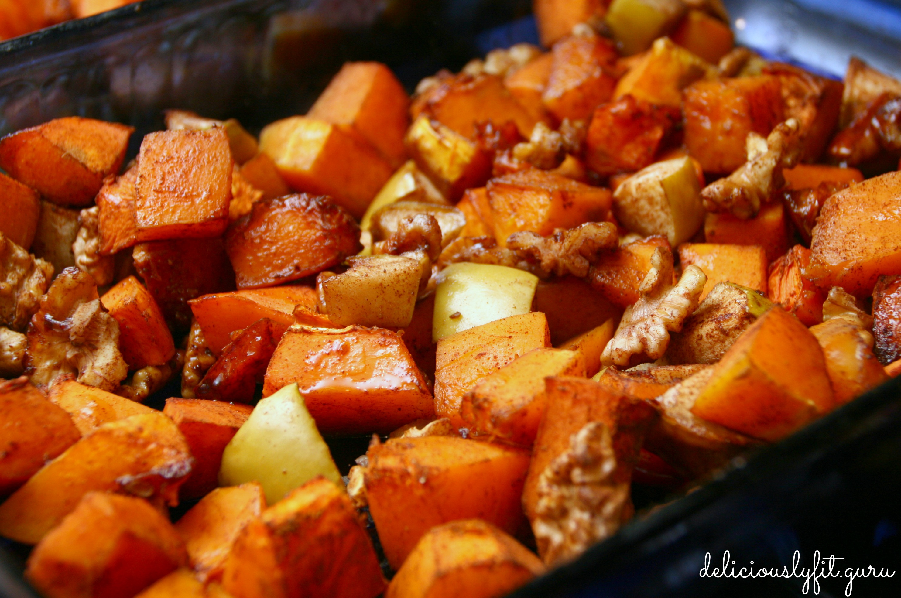 Roasted Butternut Squash with Apples and Walnuts - Deliciously Fit