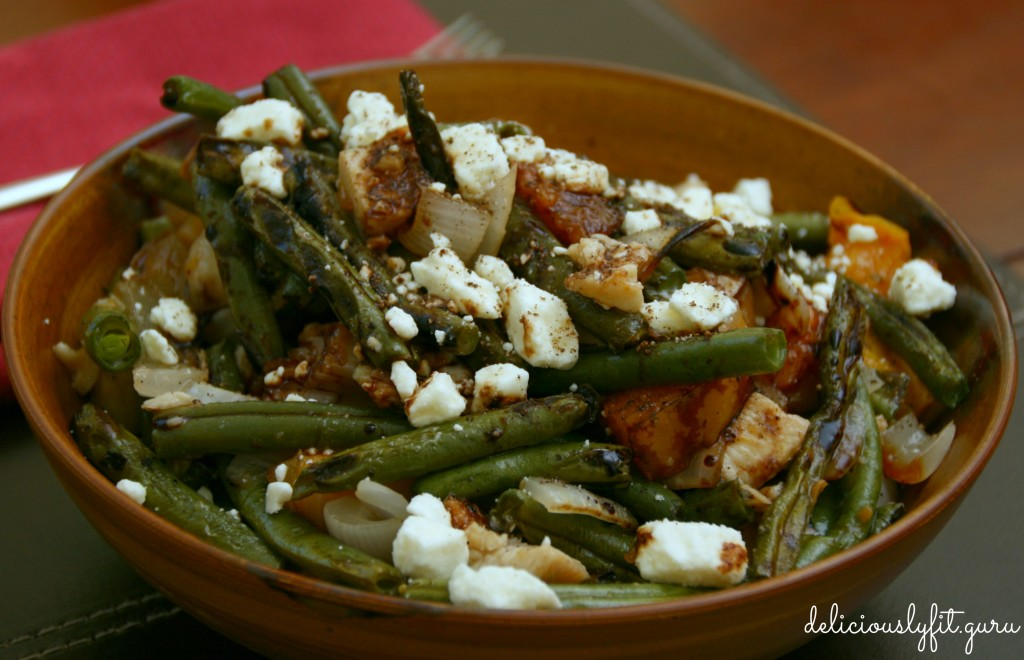 Grilled Peach and  Green Bean Salad