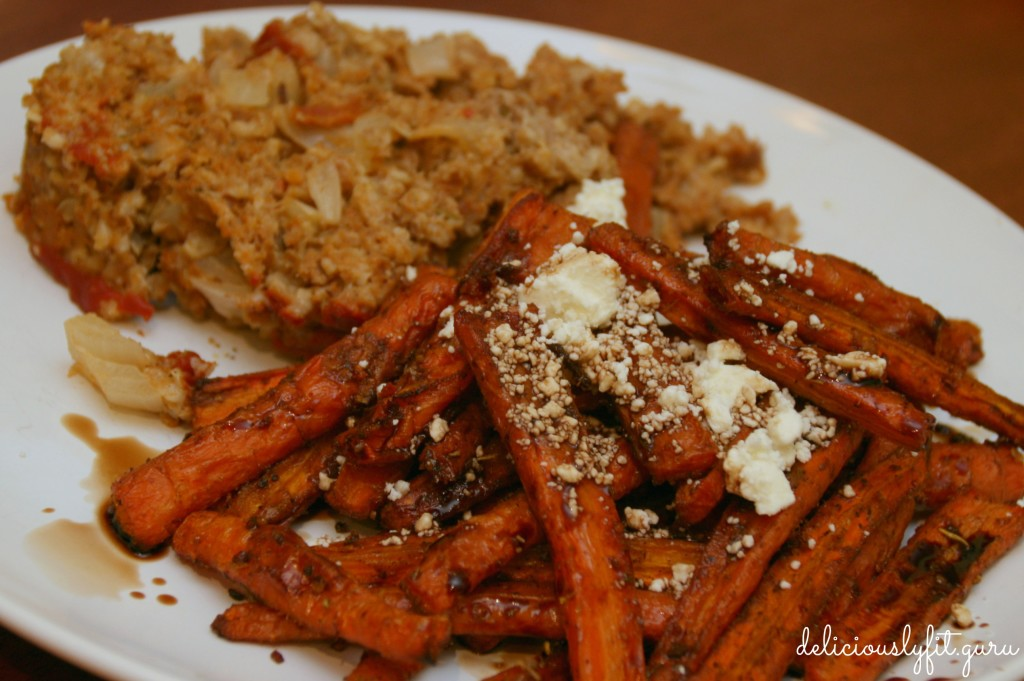 roasted carrot fries with meatloaf